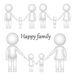 3D happy family vector image