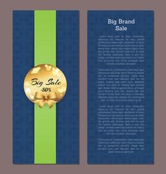 big brand sale cover front back page golden label vector image