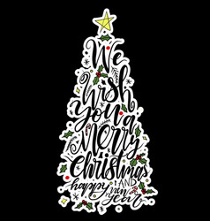 calligraphy lettering of christmas tree vector image vector image