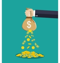 Cartoon businessman hand holding money bag vector image