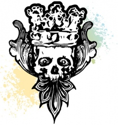 crowned wicked skull vector image vector image
