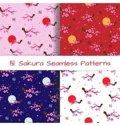 Set of Spring Seamless Patterns Blooming Sakura vector image