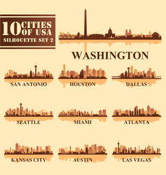 silhouettes cities of usa set 2 vector image