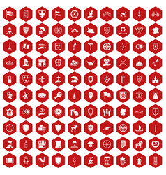 100 shield icons hexagon red vector