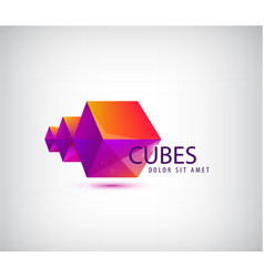 3d abstract geometric logo origami cubes vector image