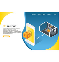 3d printing process landing page website vector