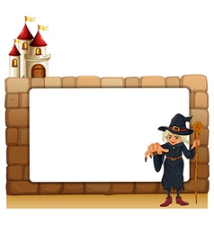 A witch with a cane in front of the empty vector image