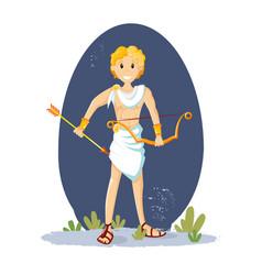 Ancient greek mythological god apollo cartoon vector