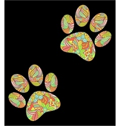 Animal paw print on black background vector