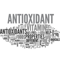 Antioxidant enzyme text word cloud concept vector