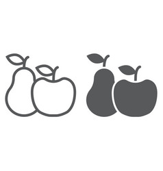 apple and pear line and glyph icon food vector image