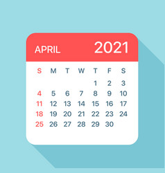 april 2021 calendar leaf vector image