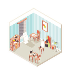 artist studio interior painting place exhibition vector image