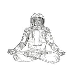 Astronaut lotus position mandala vector