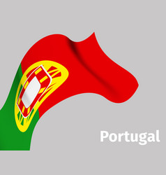 Background with portugal wavy flag vector