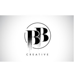 Bb brush stroke letter logo design black paint vector