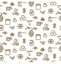 beekeeping outline icon seamless pattern vector image
