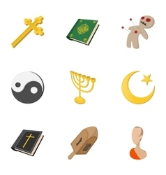 Beliefs icons set cartoon style vector image
