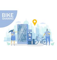bike sharing flat style design vector image