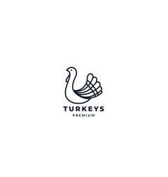 Bird turkeys simple line logo design vector