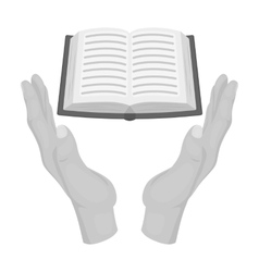 Book donation icon in monochrome style isolated on vector image