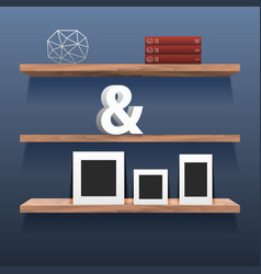Book shelves in room interior with decor vector