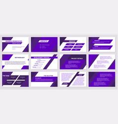 Business presentation design 12 purple slides vector