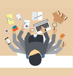 Busy business people working hard vector