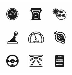 Car dashboard icon set vector