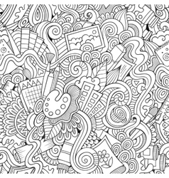 Cartoon sketchy doodles hand drawn art and vector