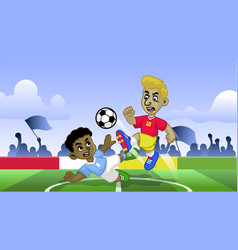 cartoon soccer kids playing soccer game in the vector image