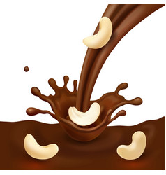 chocolate splash and cashew nut realistic vector image
