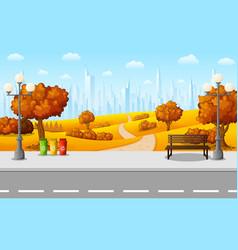 city park and streetlight on suburban vector image