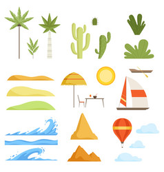 Collection of tropical landscape constructor vector