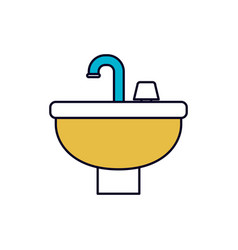 Color sections silhouette of washbasin icon vector