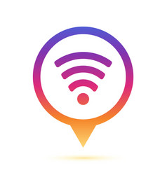 colorful wifi sign in circle pin icon vector image
