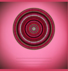 Cover background ornamental round knitted pattern vector
