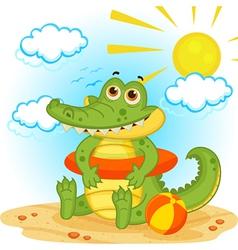 Crocodile on the beach vector