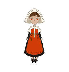 Cute france woman in white headwear and long red vector