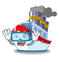 diving aerial in cartoon cargo ship view vector image