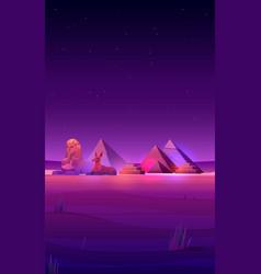 Egyptian night desert pyramids sphinx and anubis vector