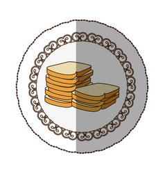 Emblem white bread icon vector