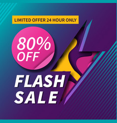 Flash sale paper cut banner design vector