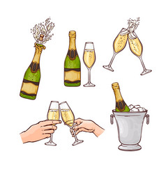 flat champagne splash popping cork merry christmas vector image