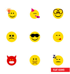 Flat icon expression set of asleep delicious food vector