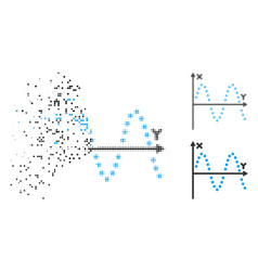 Fragmented dot halftone sine plot icon vector