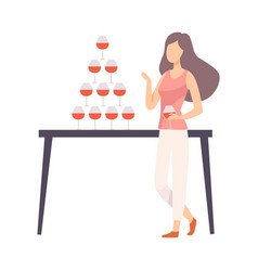 girl in casual style clothes at banquet or at vector image
