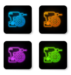 glowing neon drill machine and gear icon isolated vector image