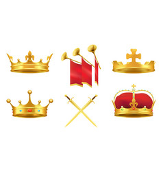 Gold kings medieval attributes set vector