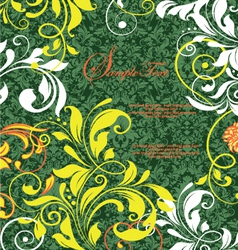green damask design greeting card vector image